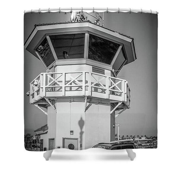 Huntington Beach Main Lifeguard Pier Tower Shower Curtain