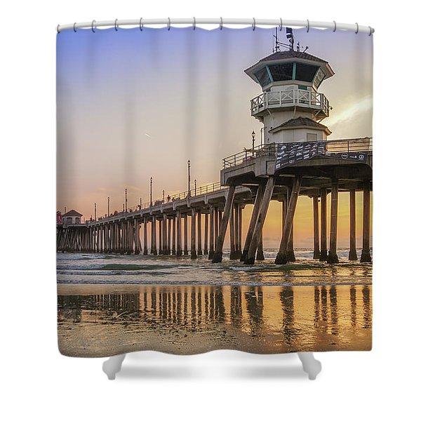 Huntington Beach Pier Shower Curtain