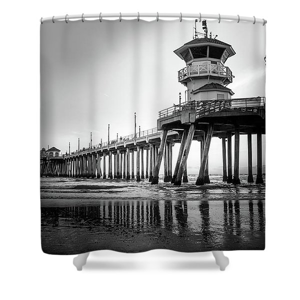 Huntington Beach Pier In Black And White Shower Curtain