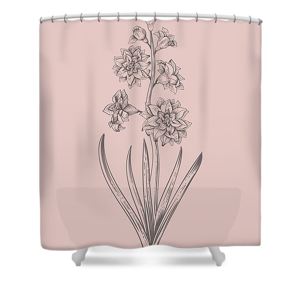 Hyacinth Blush Pink Flower Shower Curtain