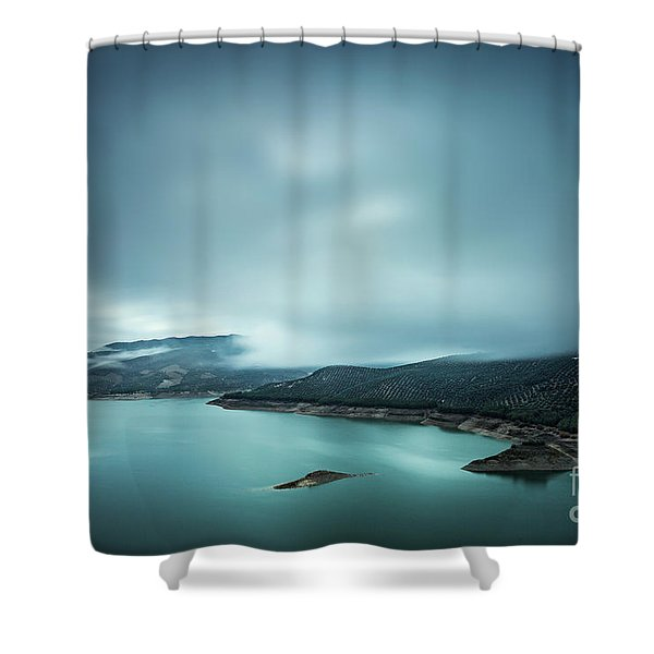 Iberian Blues Shower Curtain