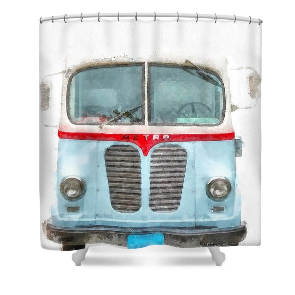 Ice Cream Food Truck Metro Van Shower Curtain