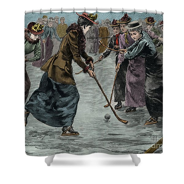 Ice Hockey  Ladies Match On The Lake In Wimbledon Park Shower Curtain