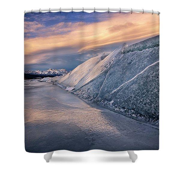 Ice Sheets On Abraham Lake Shower Curtain
