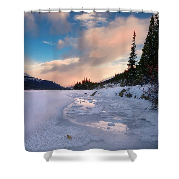 Icefields Parkway Winter Morning Shower Curtain