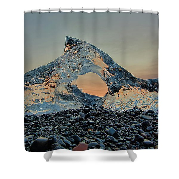 Iceland Diamond Beach Abstract  Ice Shower Curtain