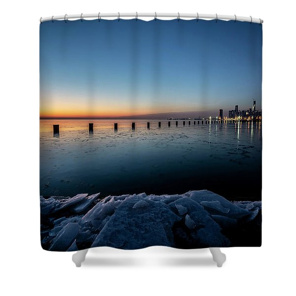 Icy Chicago Skyline At Dawn  Shower Curtain