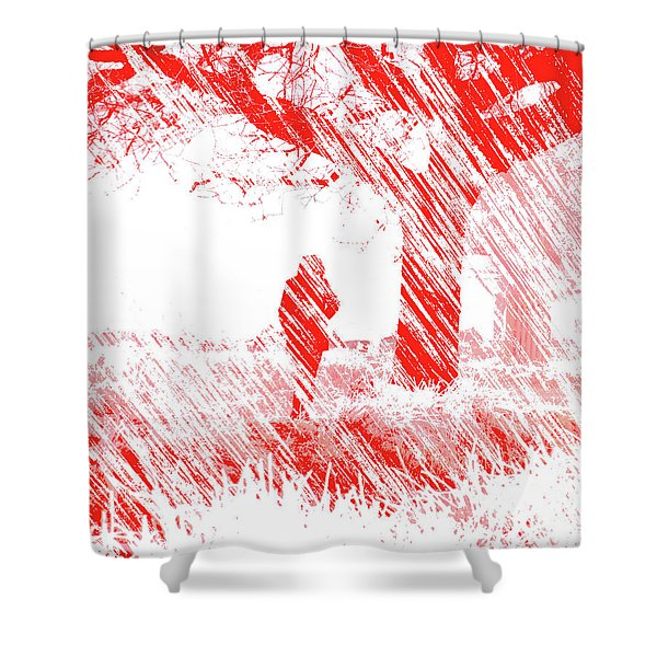 Icy Shards Fall On Setttled Snow Shower Curtain