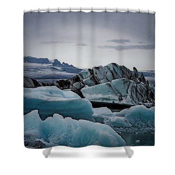 Icy Stegosaurus Shower Curtain