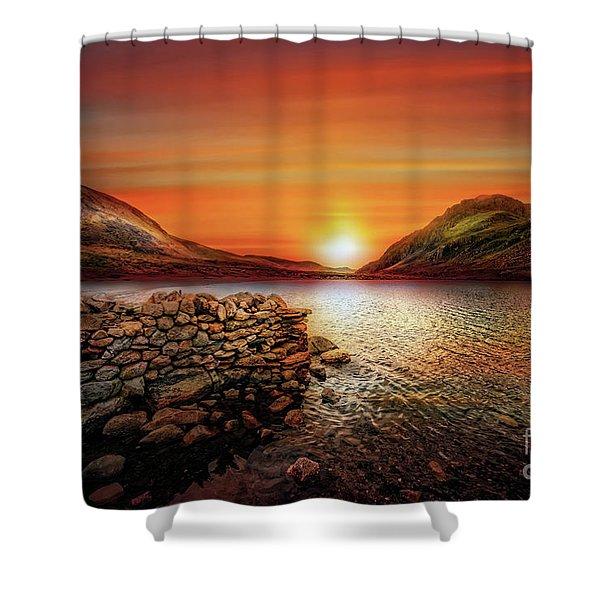 Idwal Lake Sunset Shower Curtain