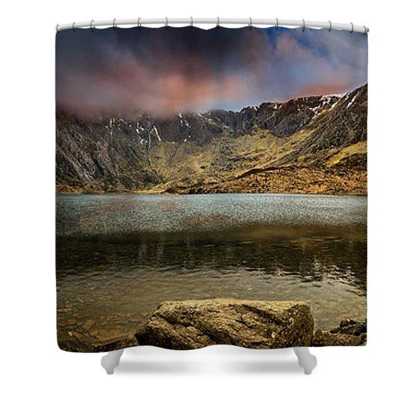 Idwal Lake Winter Sunset Shower Curtain
