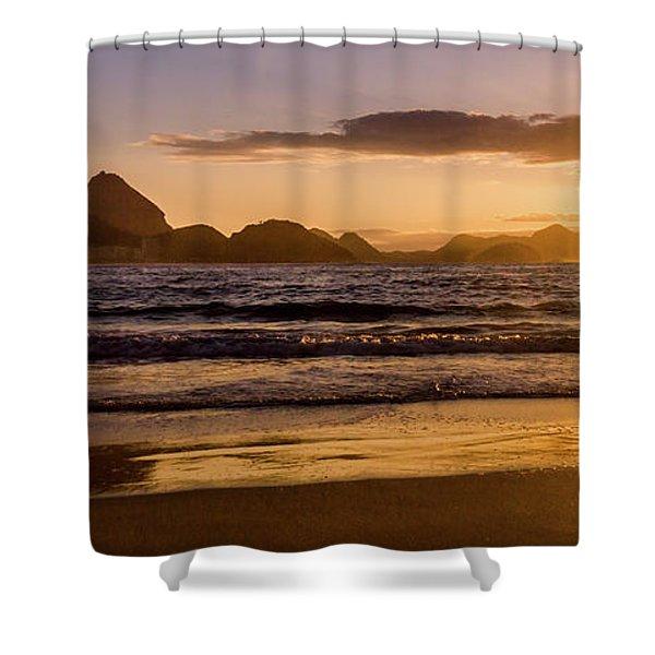 Idyllic Sunrise In Copacabana Beach In Rio De Janeiro, Brazil Shower Curtain