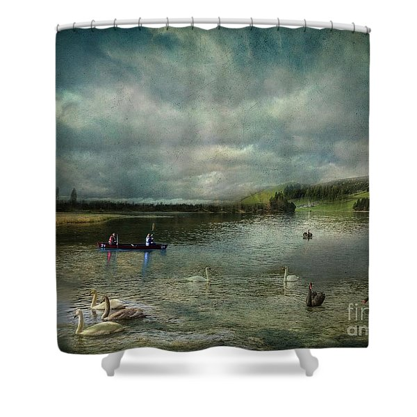 Idyllic Swans Lake Shower Curtain