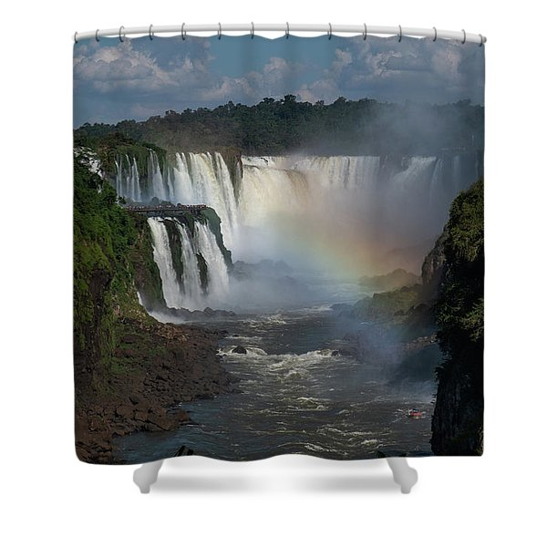 Iguazu Falls With A Rainbow Shower Curtain