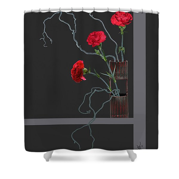 Red Carnations And Bamboo Vase Shower Curtain