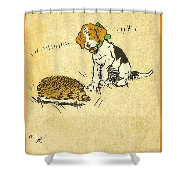 Puppy And Hedgehog, Illustration Of Shower Curtain