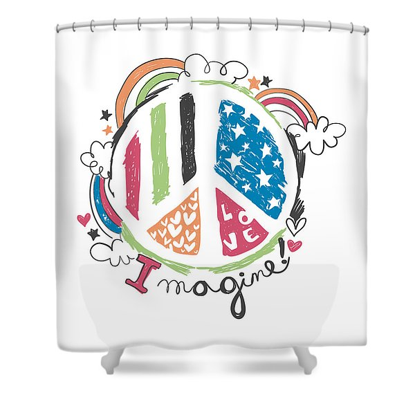 Imagine Love And Peace - Baby Room Nursery Art Poster Print Shower Curtain