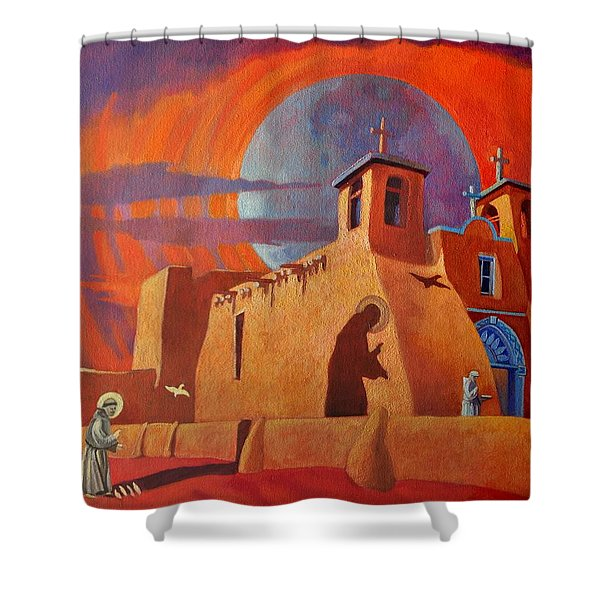 In The Shadow Of St. Francis Shower Curtain