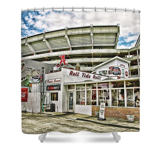 In The Shadow Of The Stadium - Hdr Shower Curtain