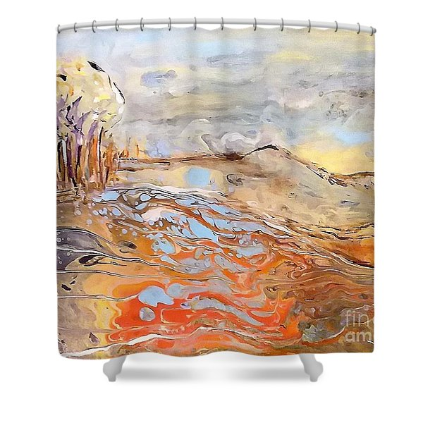 Shower Curtain featuring the painting In The Valley by Deborah Nell