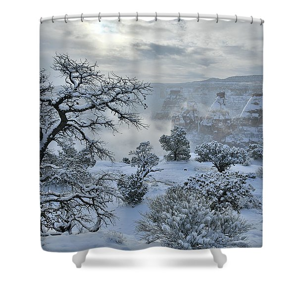 Independence Canyon At Sunrise In Colorado National Monument Shower Curtain