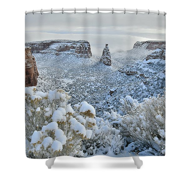Independence Monument In Snow Shower Curtain