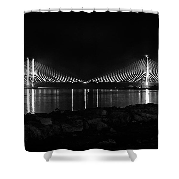 Indian River Bridge After Dark In Black And White Shower Curtain