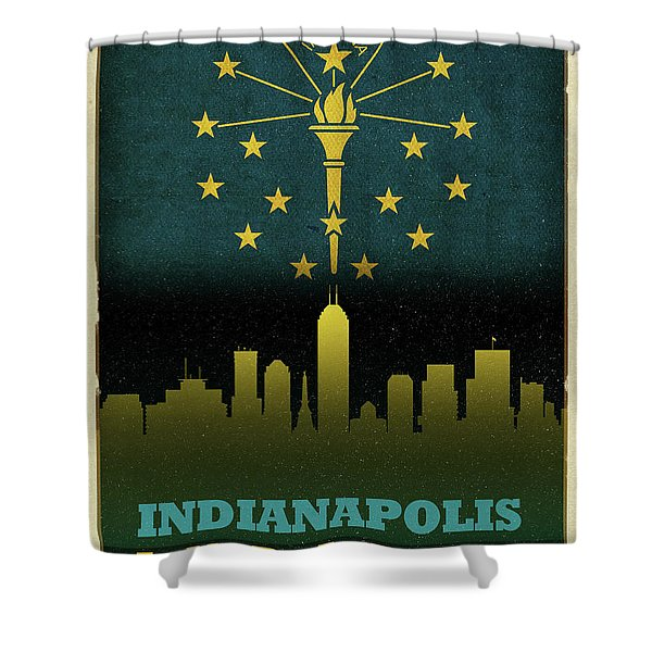 Indianapolis City Skyline State Flag Of Indiana Shower Curtain