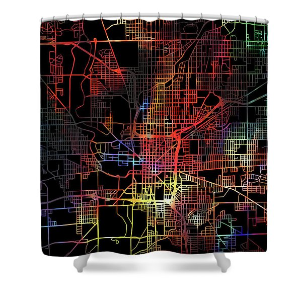 Indianapolis Indiana Watercolor City Street Map Dark Mode Shower Curtain