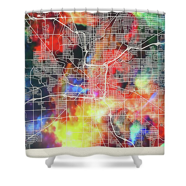 Indianapolis Indiana Watercolor City Street Map Shower Curtain