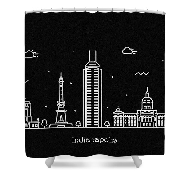 Indianapolis Skyline Travel Poster Shower Curtain
