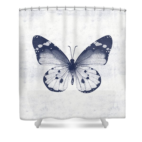 Indigo And White Butterfly 1- Art By Linda Woods Shower Curtain