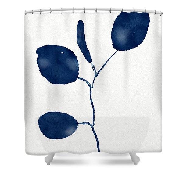 Indigo Eucalyptus 2- Art By Linda Woods Shower Curtain