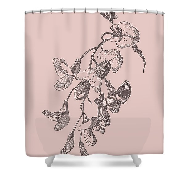 Inflorescence Blush Pink Flower Shower Curtain