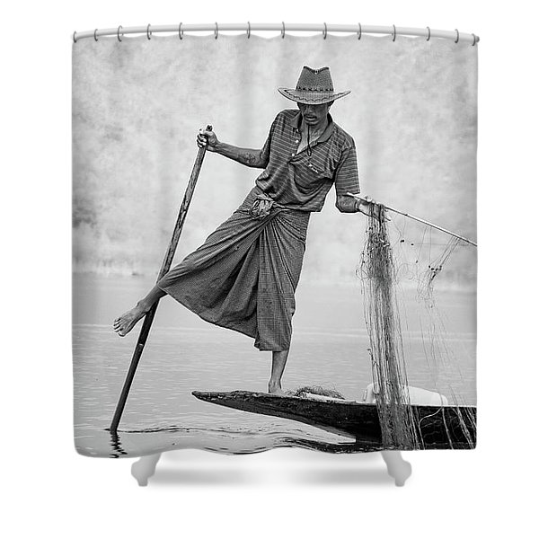 Inle Lake Fisherman Byw Shower Curtain