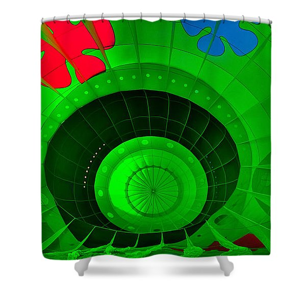 Shower Curtain featuring the photograph Inside The Green Balloon by Tom Gresham