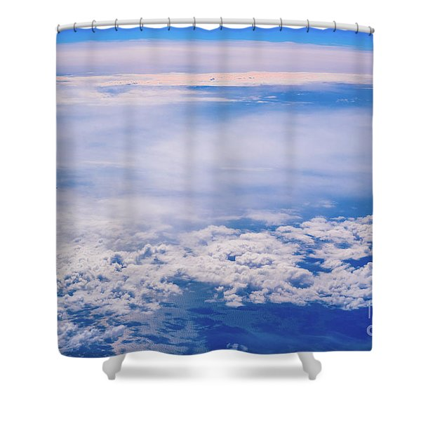Intense Blue Sky With White Clouds And Plane Crossing It, Seen From Above In Another Plane. Shower Curtain