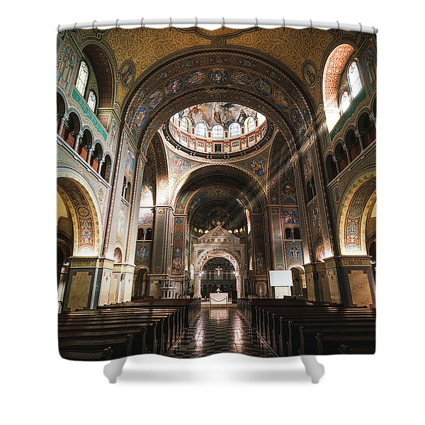 Shower Curtain featuring the photograph Interior Of The Votive Cathedral, Szeged, Hungary by Milan Ljubisavljevic