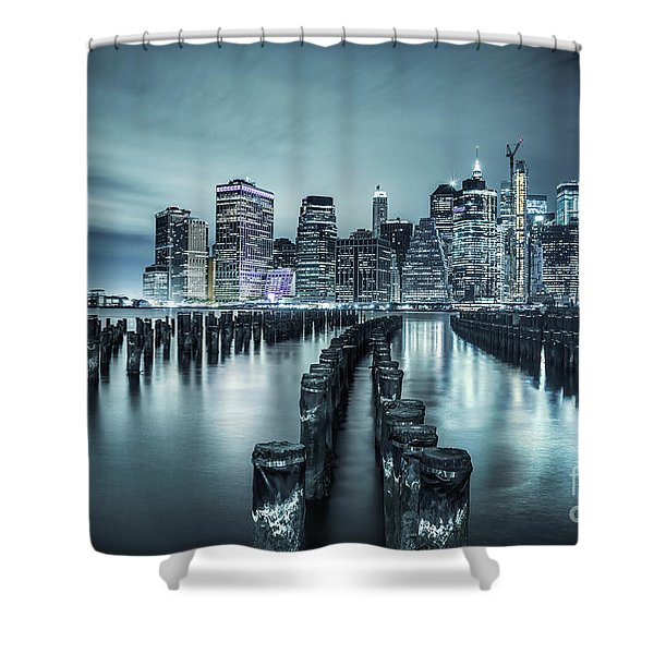 Into The Blue Night Shower Curtain
