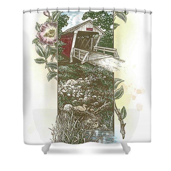 Iowa Covered Bridge Shower Curtain