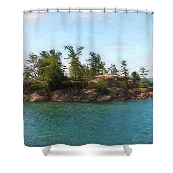 Island In The Bay Shower Curtain