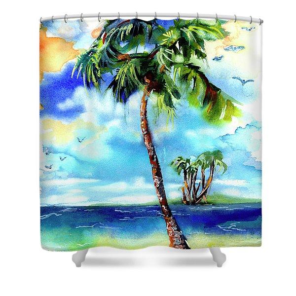 Island Solitude Palm Tree And Sunny Beach Shower Curtain
