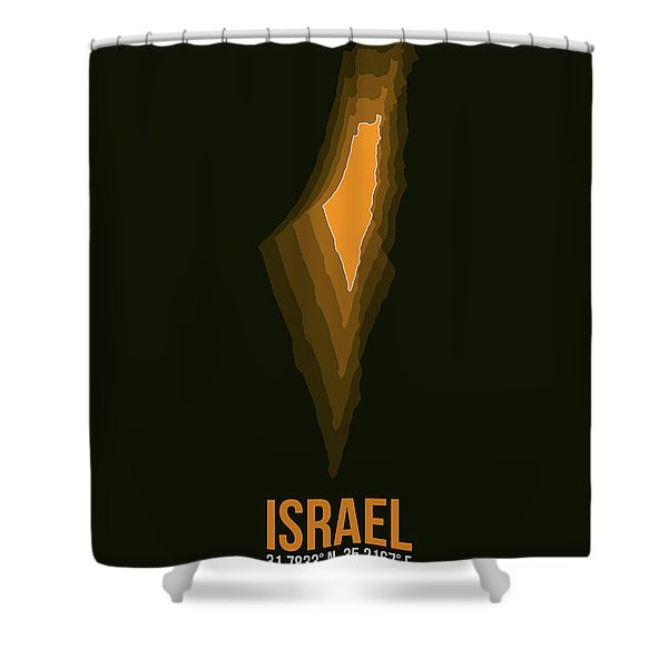 Israel Radiant Map 4 Shower Curtain