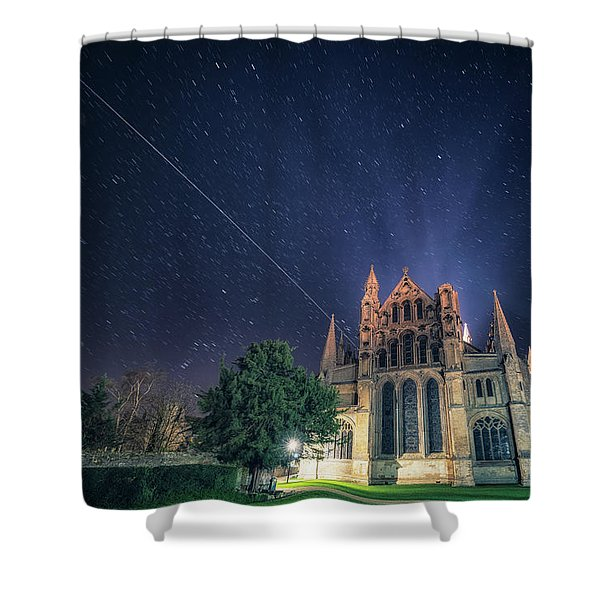 Iss Over Ely Cathedral Shower Curtain