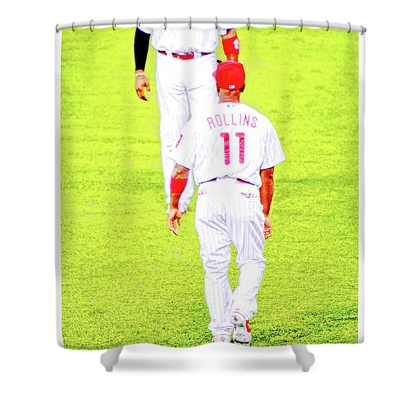 J Roll And The Big Piece, Ryan And Rollins, Phillies Greats Shower Curtain