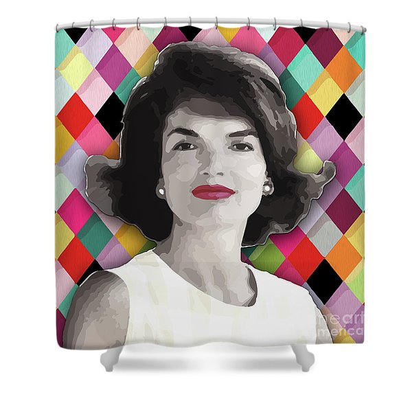 Shower Curtain featuring the painting Jackie Geometric by Carla B