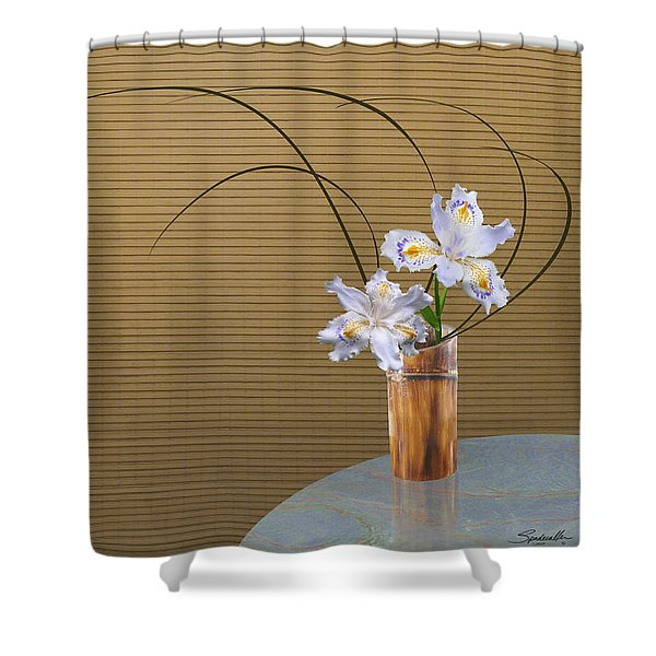 Japonica Iris In Bamboo Vase Shower Curtain