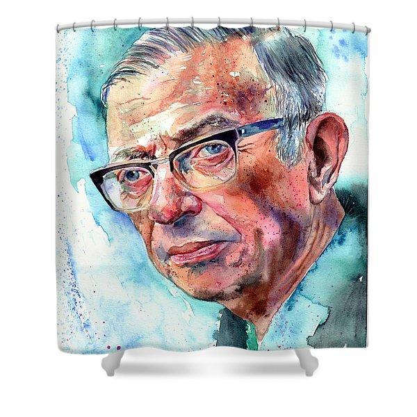 Jean-paul Sartre Portrait Shower Curtain