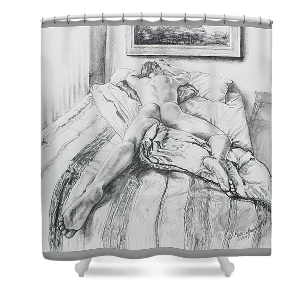 Jeremy On The Bed Shower Curtain