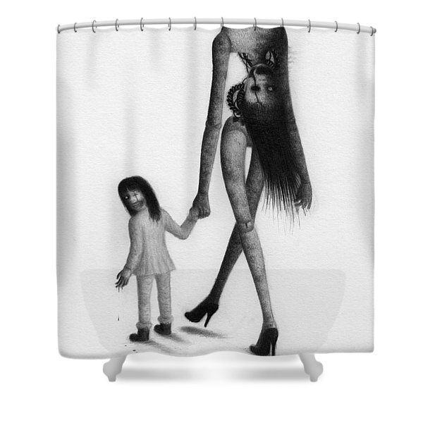 Jessica And Her Broken Doll - Artwork Shower Curtain